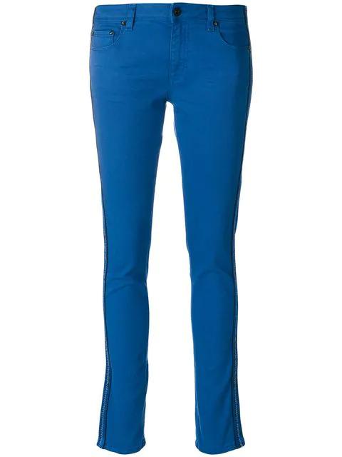 Off-white Color Strap Skinny Jean In Blue