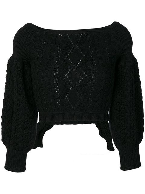 Valentino Knit Cropped Jumper In Black