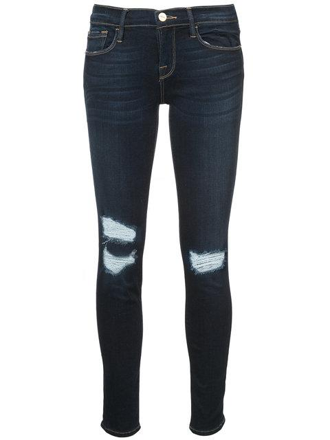Frame Ripped Skinny Jeans - Blue