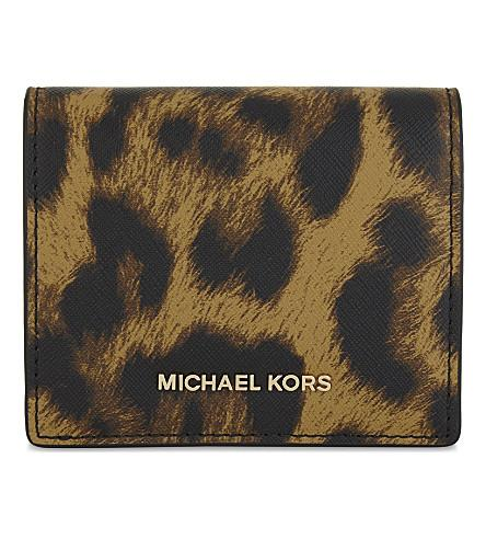 Michael Michael Kors Mercer Leather Card Case In Butterscotch