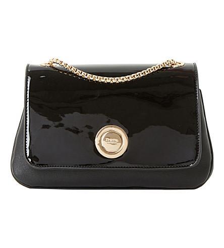 Dune Elfina Circle-lock Patent Shoulder Bag In Black-synthetic