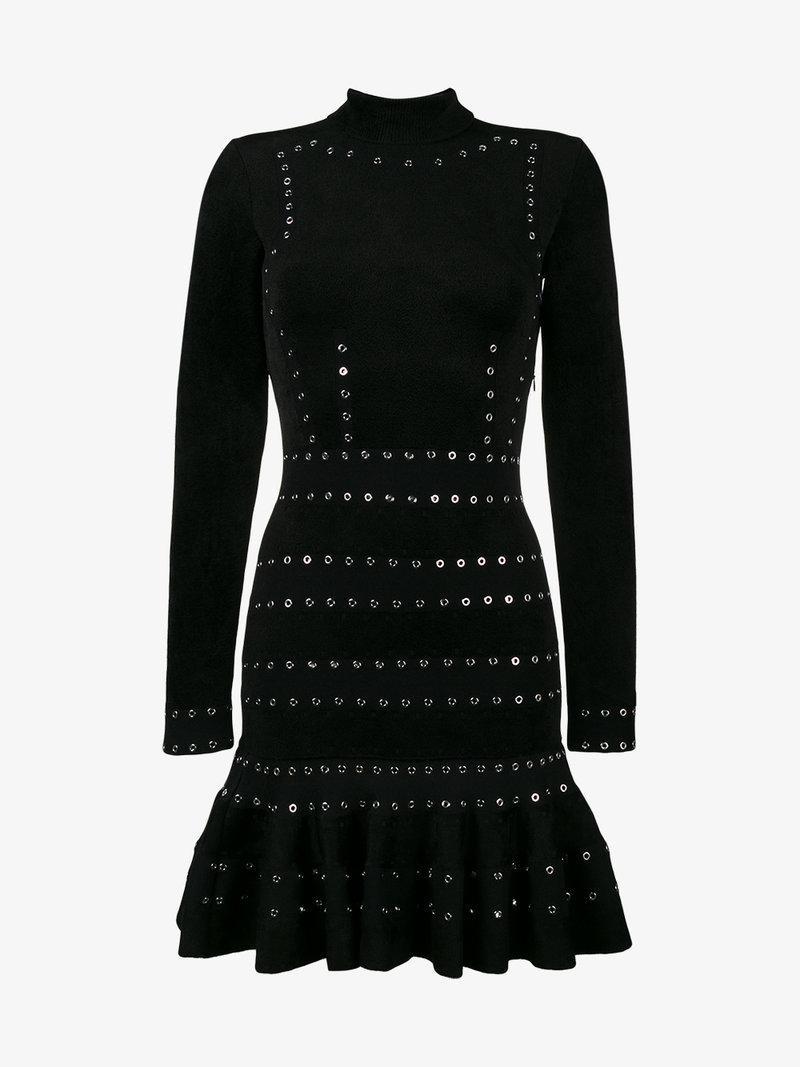 Alexander Mcqueen Long Sleeve Dress With Eyelet Stud Detail In Black