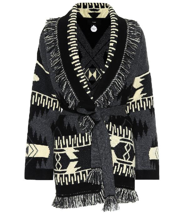 Alanui Fringed Jacquard-knit Cashmere Cardigan In Black