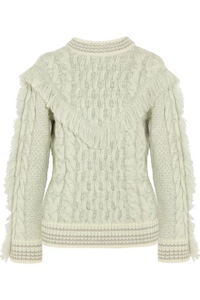 Alanui Fringed Cable-knit Cashmere Sweater, White