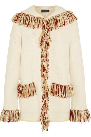 Alanui Oversized Hooded Fringed Cashmere Cardigan In White