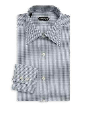 Tom Ford Patterned Cotton Dress Shirt In Black White