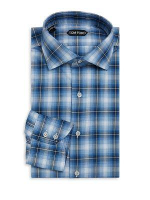 Tom Ford Tailored Cotton Dress Shirt In Blue