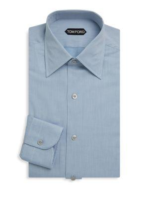 Tom Ford Cotton Button-up Dress Shirt In Blue