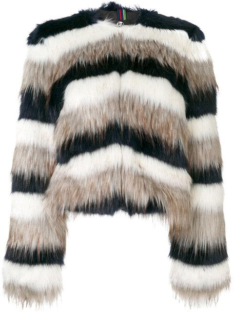 Ps By Paul Smith Striped Fur Jacket