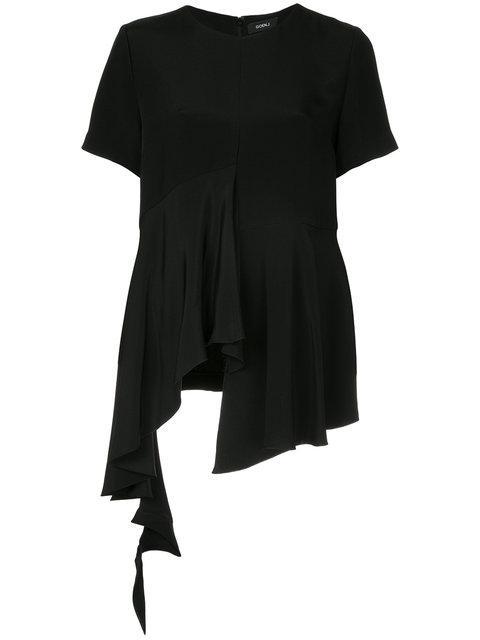 Goen J Asymmetric Ruffle-paneled Heavy-silk Top