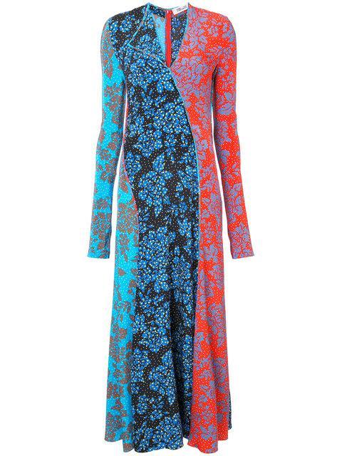 Diane Von Furstenberg Callow-print Panelled Bias-cut Silk Dress In Blue