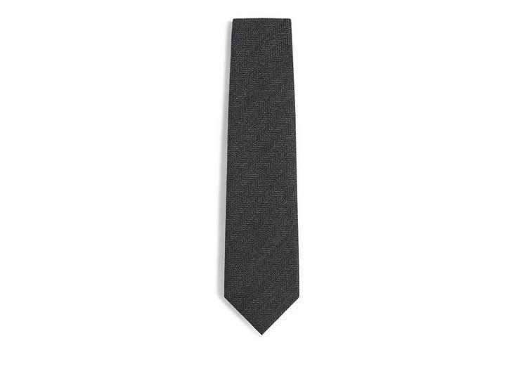 Tom Ford Textured Zig Zag Tie In Darkgrey