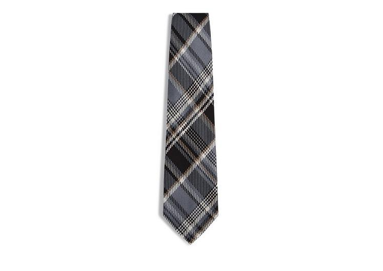 Tom Ford Plaid Tie In Silver