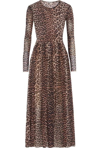 2070f9ff696 Ganni Tilden Leopard-Print Stretch-Mesh Maxi Dress