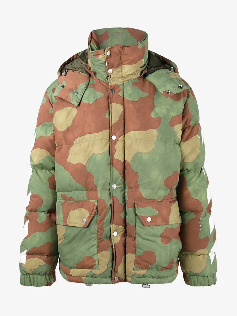 813a8c05 Off-White Green Down Camo Diagonal Arrows Jacket | ModeSens