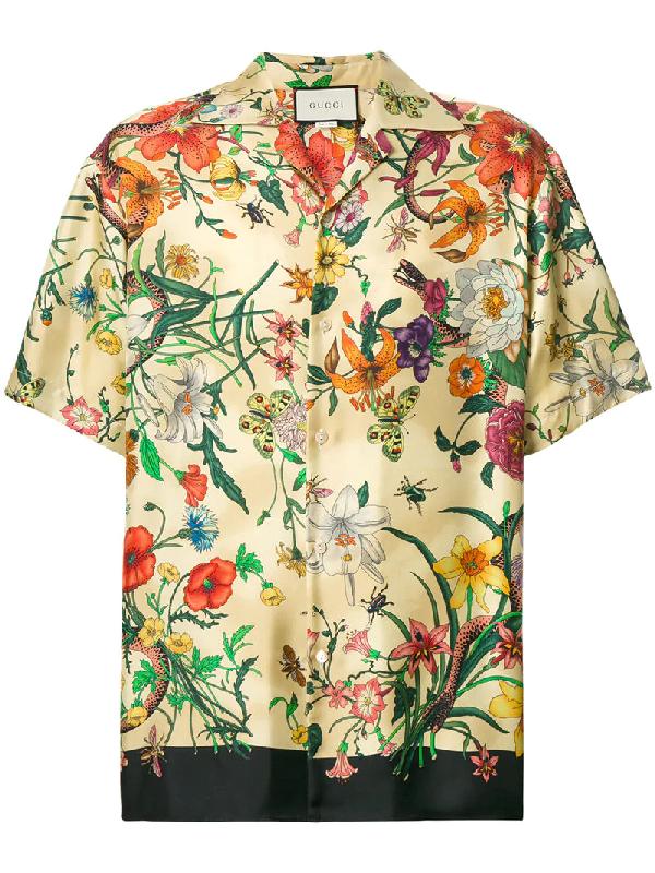 7064680d7 Gucci Camp-Collar Printed Silk-Twill Shirt In Ivorybone | ModeSens