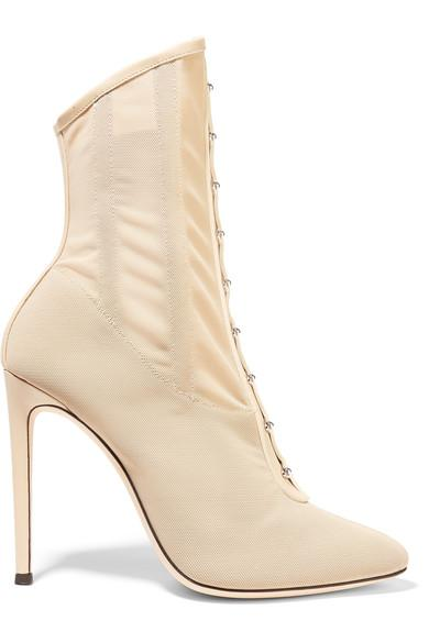 a1703c0e4c07 Giuseppe Zanotti Janice Leather-Trimmed Stretch-Mesh Ankle Boots ...