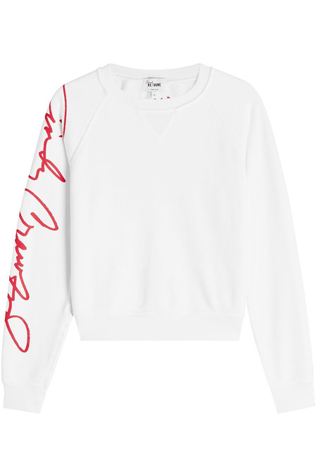 30d16f6339ed Re/Done Woman Printed French Cotton-Terry Sweatshirt White In White,Red,
