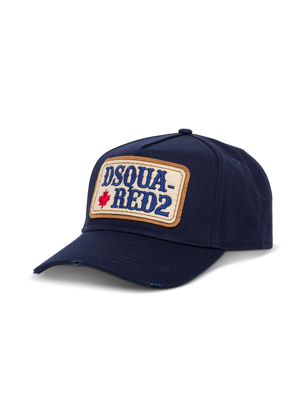 Dsquared2 Blue Cotton Hat With Logo Patch