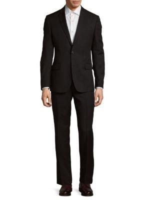 Brunello Cucinelli Two-Button Wool Suit In Black