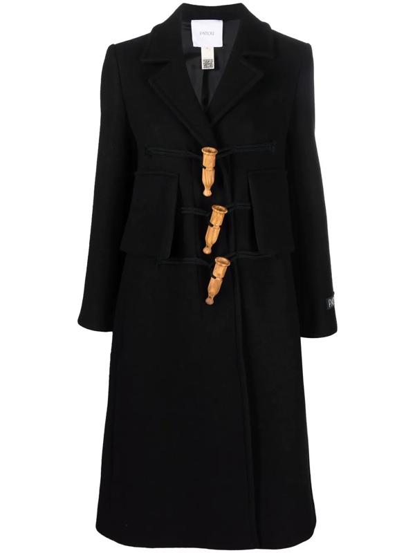 Patou Appeau Duffle Coat In Schwarz