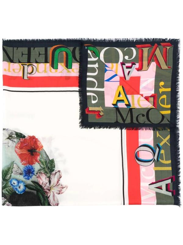 Alexander Mcqueen Logo Pattern Floral Scarf In Rot