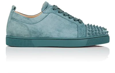 960f0f7e1a6 Louis Junior Spikes Flat Suede Sneakers in Turquoise/Aqua