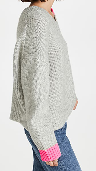 Helmut Lang Wool & Camel Hair Blend V-neck Sweater In Precision Heather