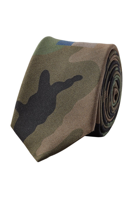 Valentino Camouflage Printed Silk Tie In Green