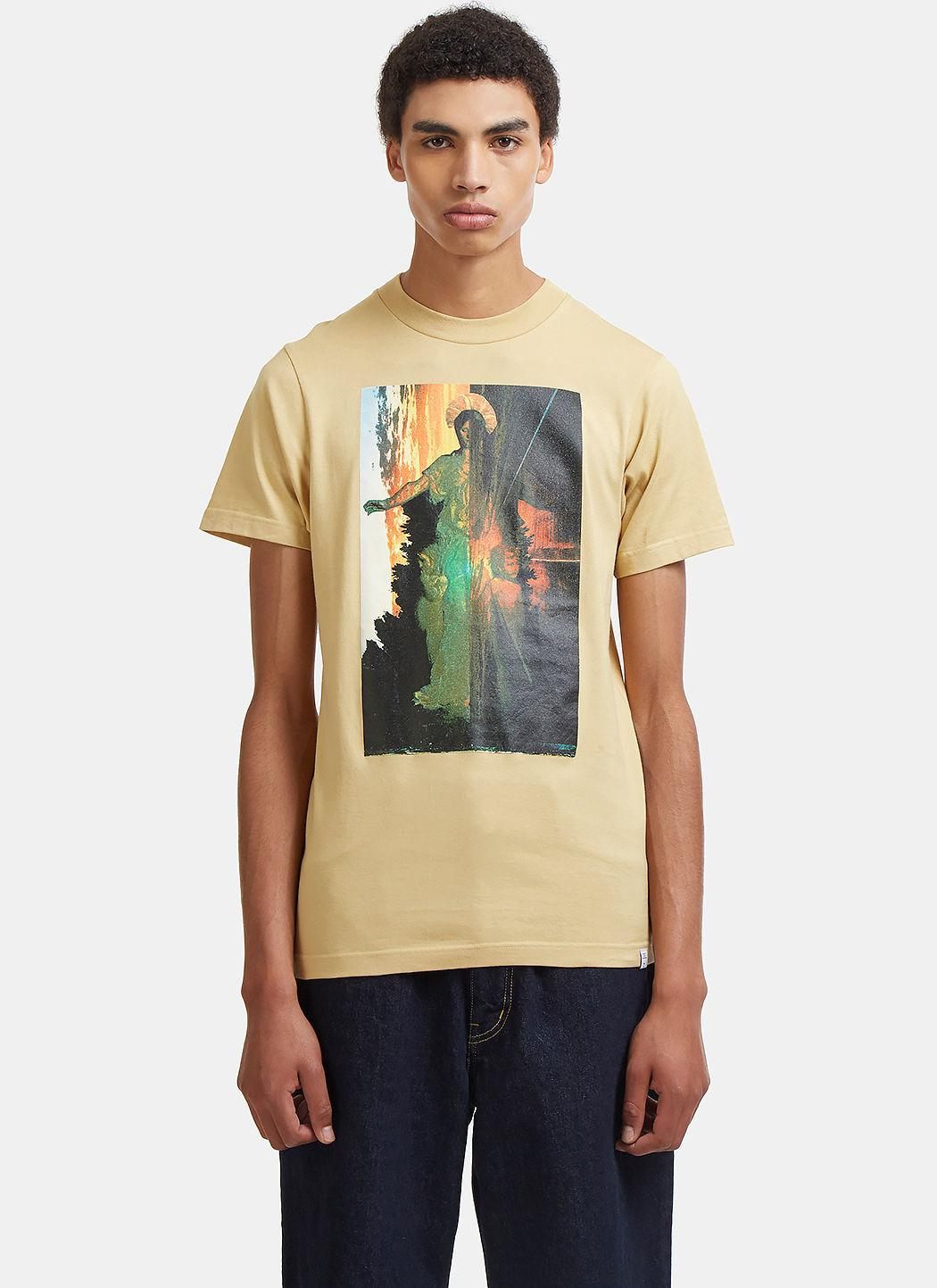 Facetasm Saint Mary Graphic Print T-Shirt In Beige