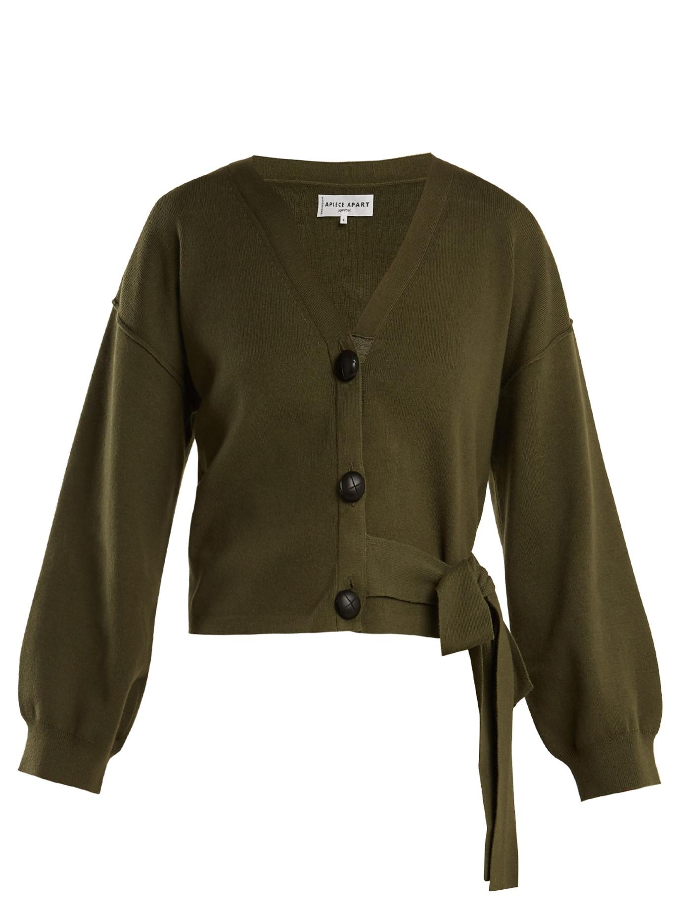 Side tie Cotton And Cashmere blend Cardigan In Khaki