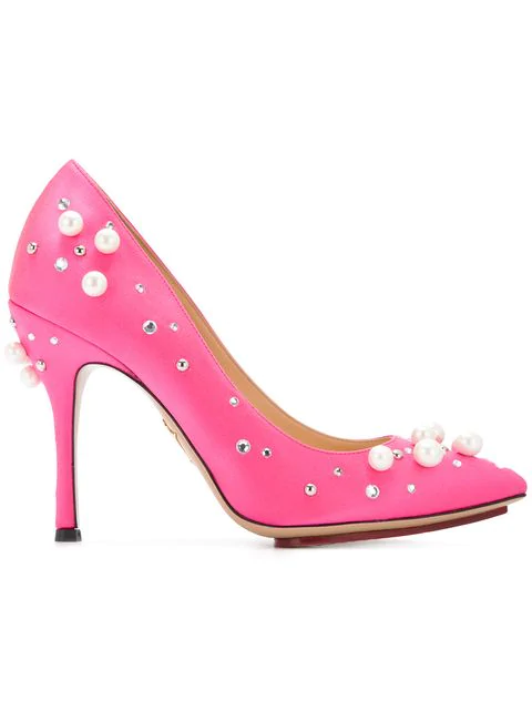 Charlotte Olympia Bacall Crystal-Embellished Stiletto Pumps In Hot Pink