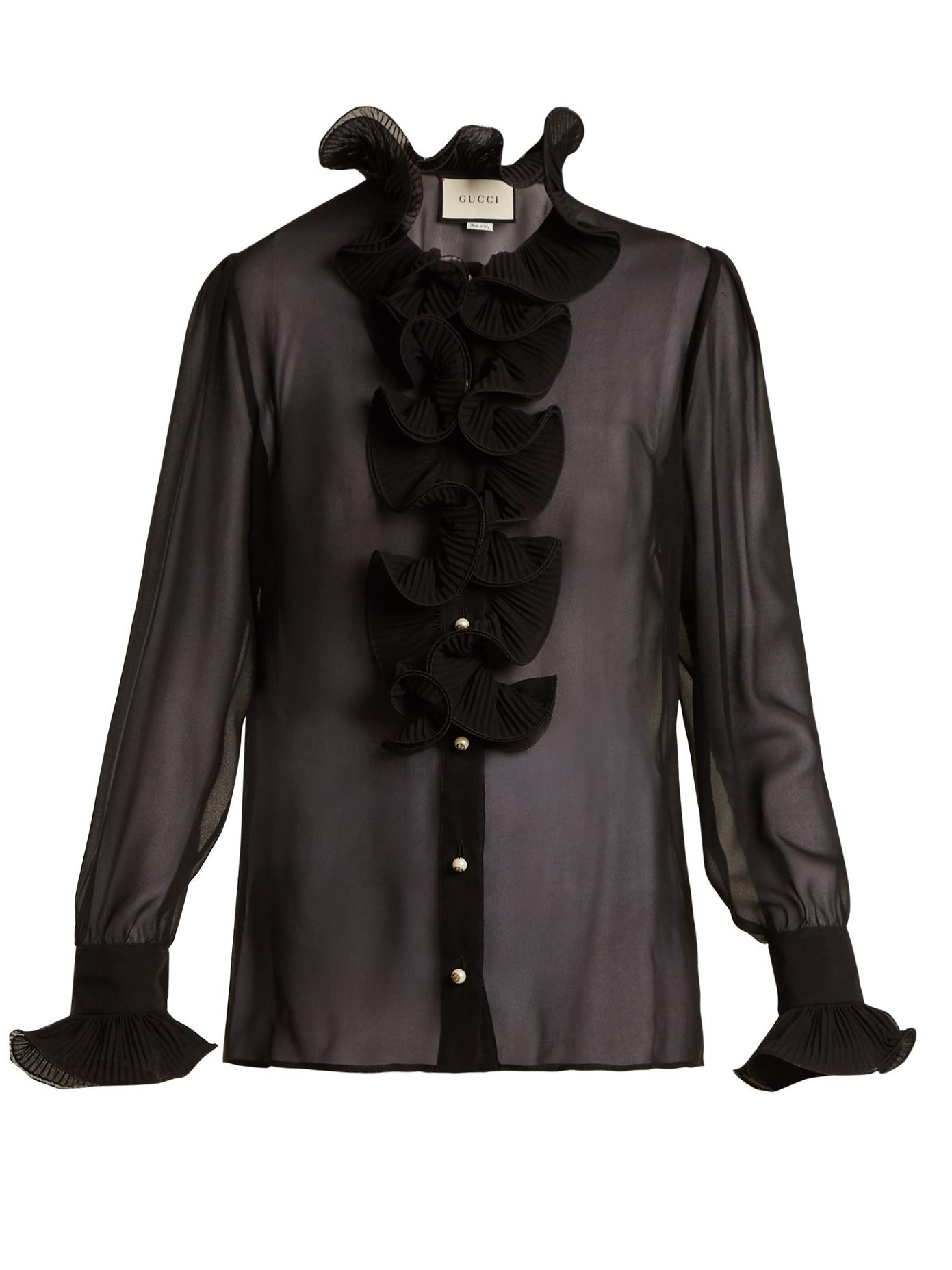 05010abcb Gucci Ruffle-Trimmed Sheer Silk-Georgette Blouse In Black | ModeSens