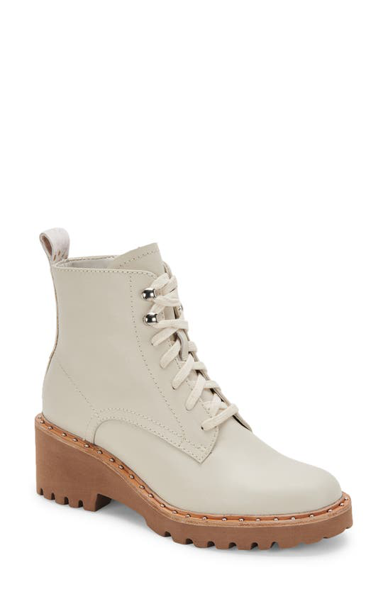 Dolce Vita Hinto Lace-up Wedge Combat Booties Women's Shoes In Ivory Leather