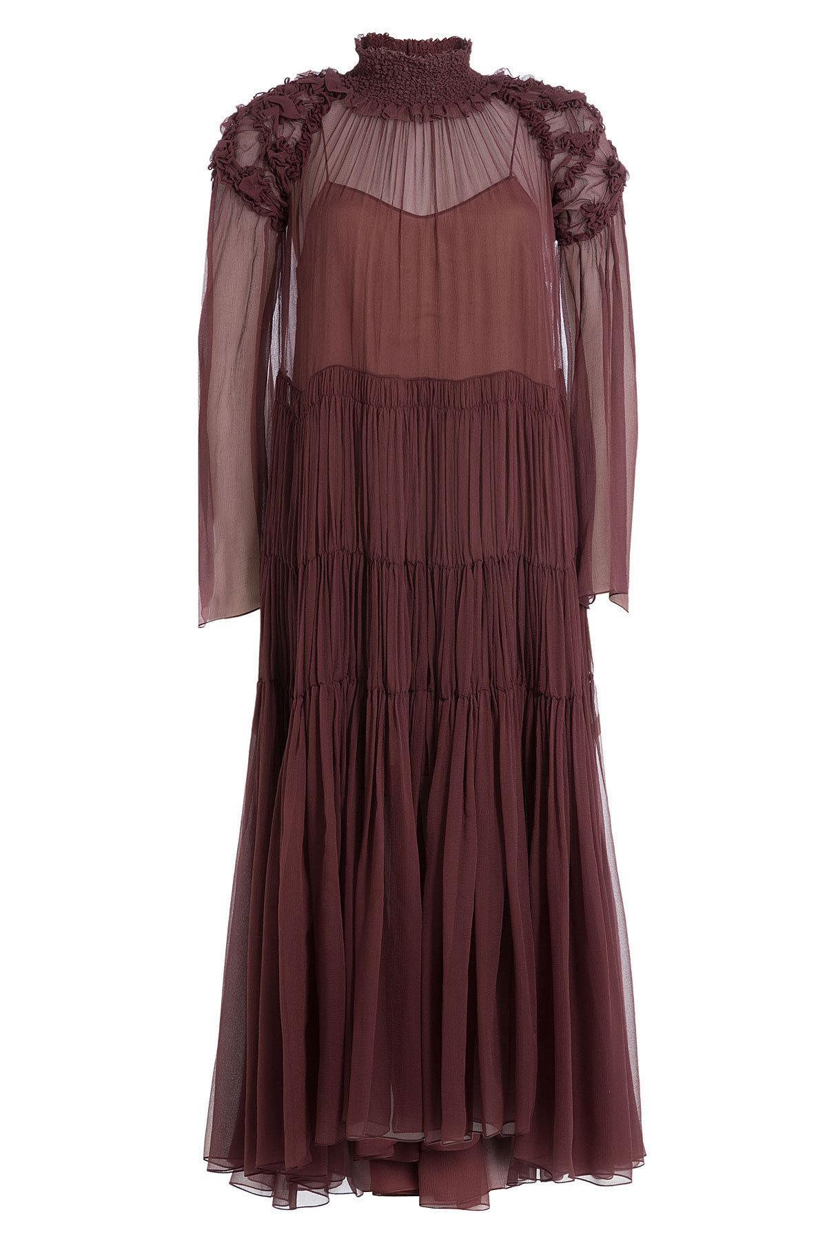 ChloÉ Silk Chiffon Dress In Red