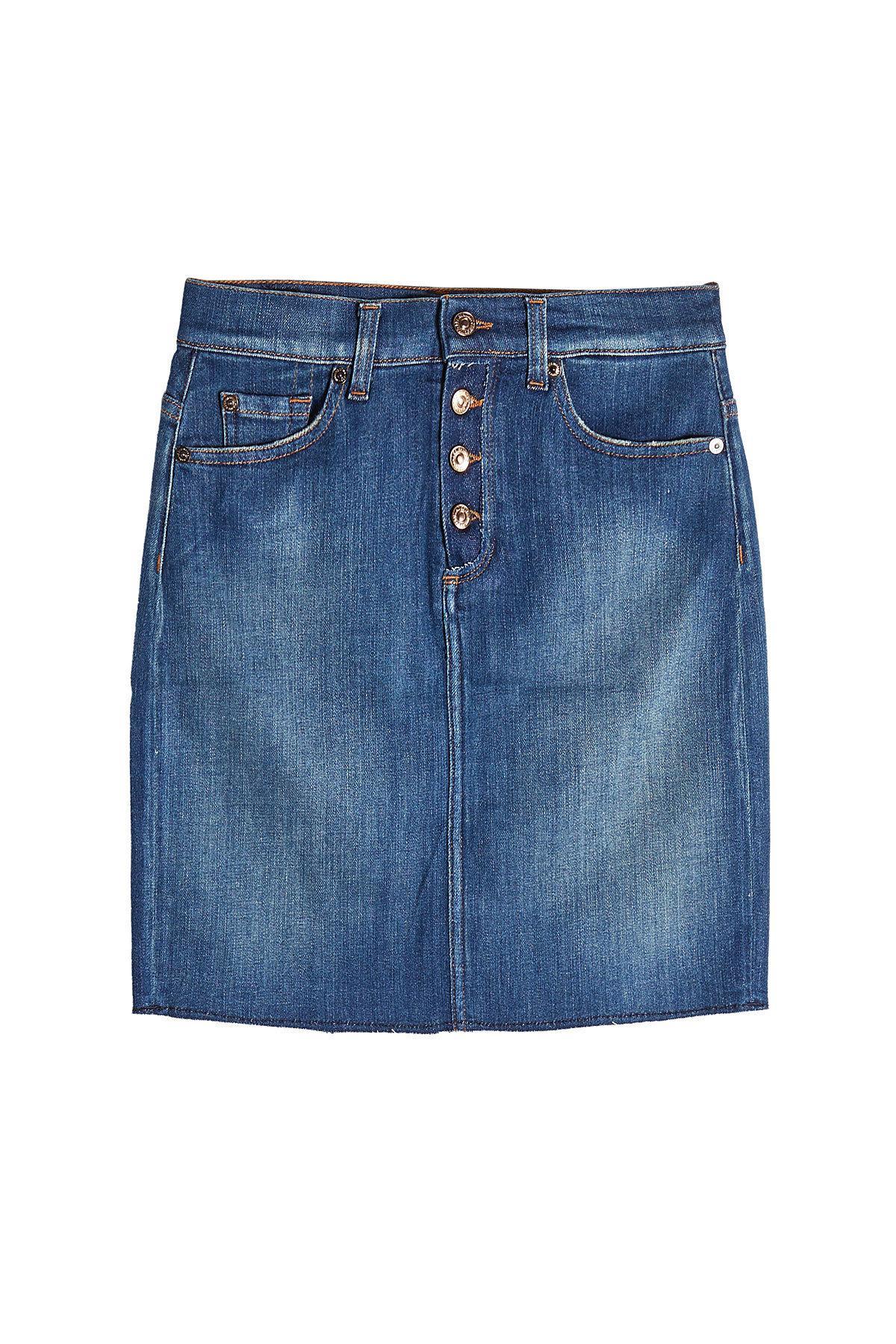 7 For All Mankind Mini Denim Skirt In Blue