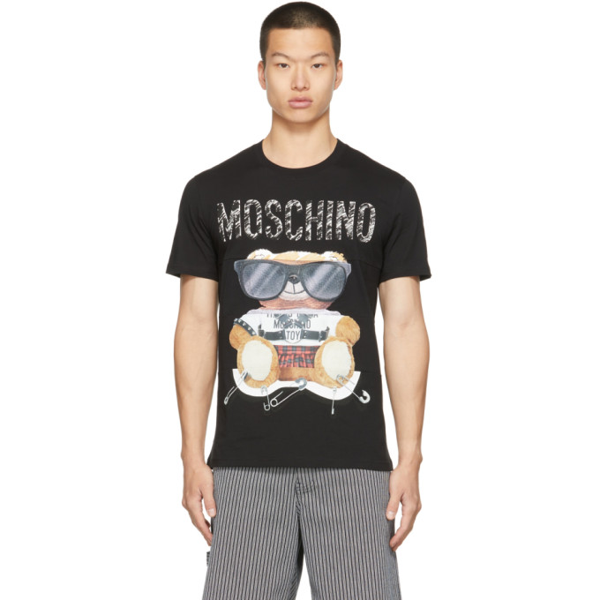 Moschino Mens Fantasy Print Black Teddy Bear-print Cotton-jersey T-shirt 40 In V1555 Black