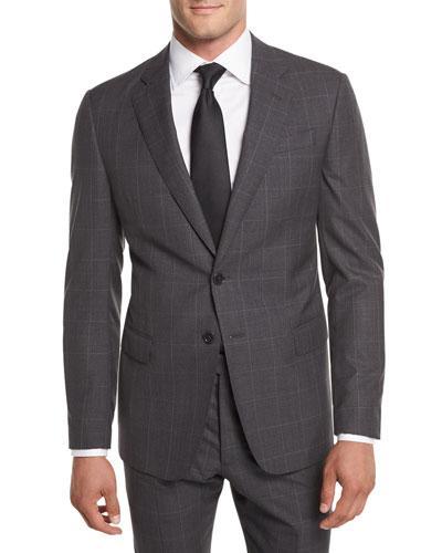 Giorgio Armani Textured Windowpane Wool Two-Piece Suit In Charcoal