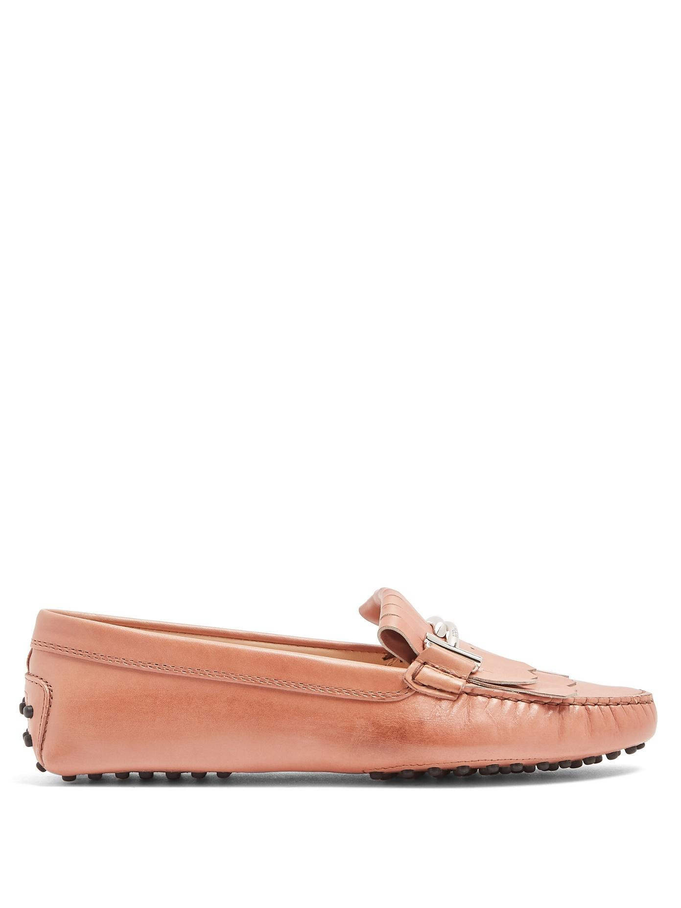 ce26298a111 Gommini T-Bar Fringed Leather Loafers in Pink