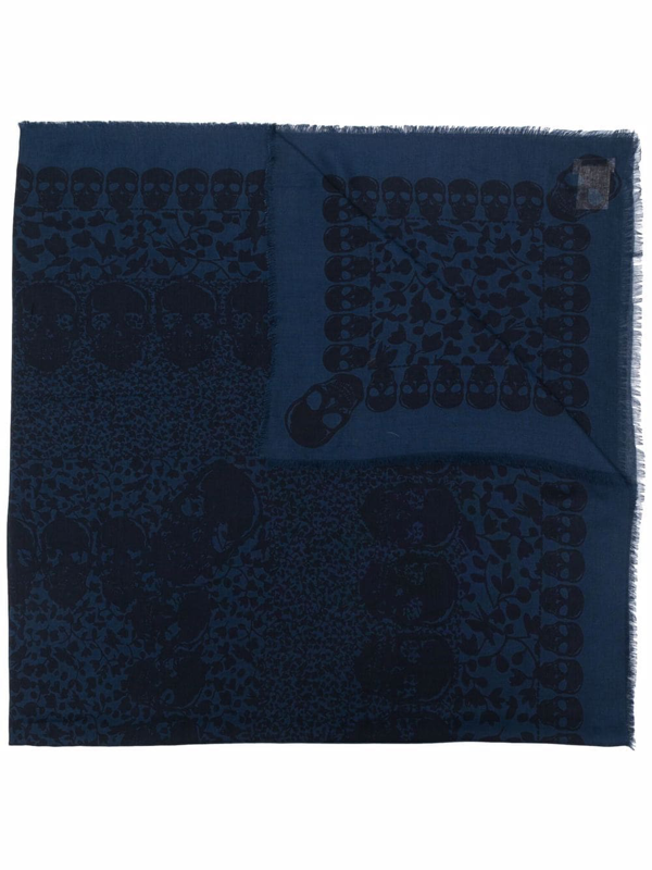 Zadig & Voltaire Womens Navy Kerry Skull-print Woven Scarf 1 Size In 蓝色
