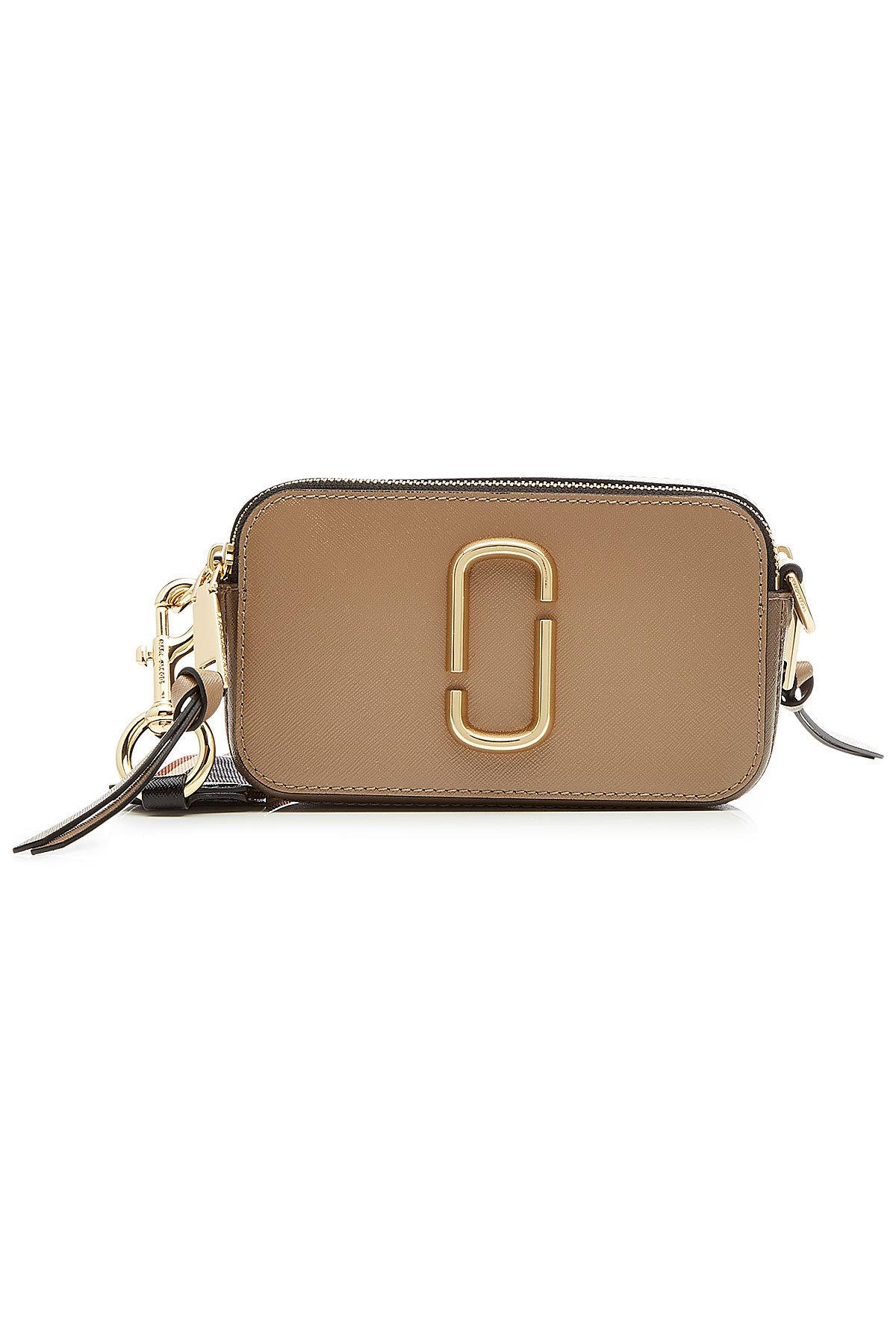 Marc Jacobs Snapshot Taupe Leather Shoulder Bag In Multicolored