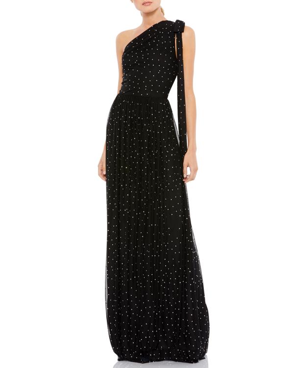 Ieena For Mac Duggal One-shoulder Gem-embellished Gown In Black