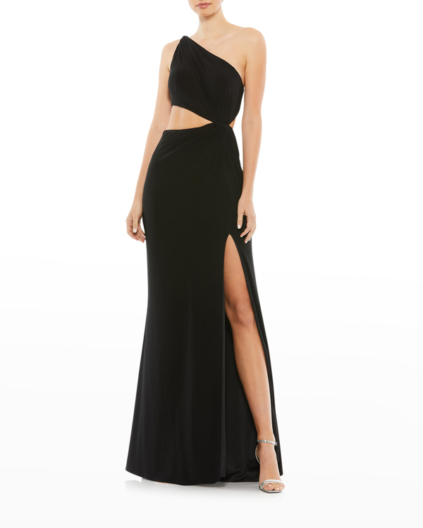 Ieena For Mac Duggal One-shoulder Jersey Cutout Gown In Black