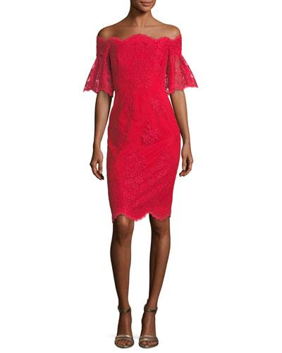 Lace Off The Shoulder Flutter Sleeve Cocktail Dress In Red
