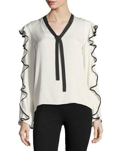 9a244de14d67f Alexis Darcy Contrast Trim Ruffle Blouse In Off White