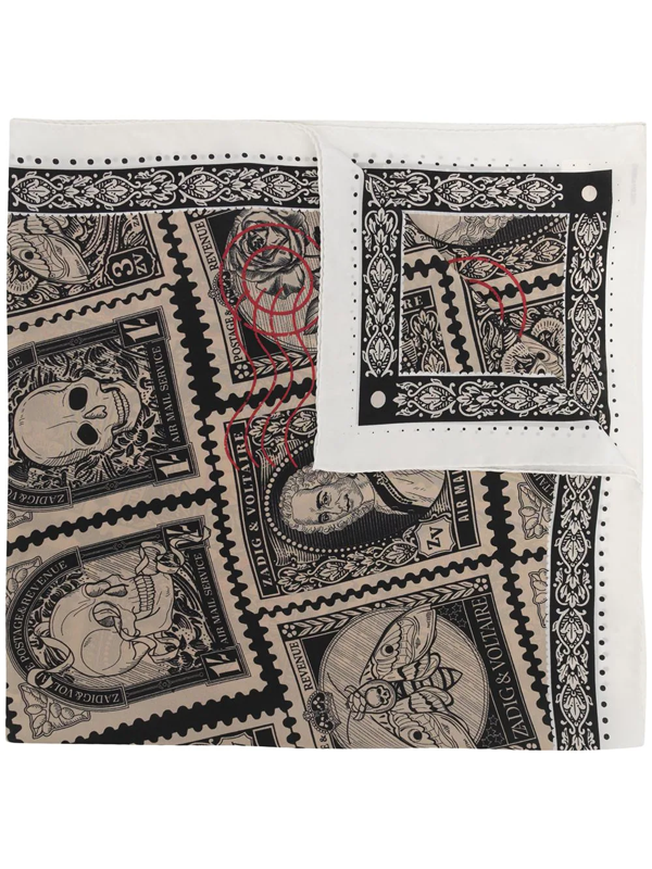 Zadig & Voltaire Womens Noir Lotty Stamp And Skull-print Silk Scarf 1 Size In 褐色