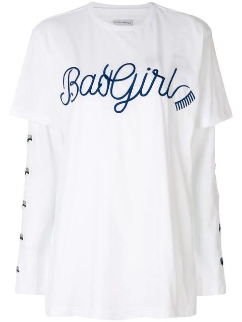0cc0e54f1 Chiara Ferragni Bad Girl Cotton Double T-Shirt In White | ModeSens