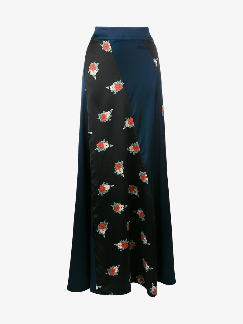 3cb7446c Ganni Glenmore Paneled Floral-Print Satin Maxi Skirt In Blue | ModeSens