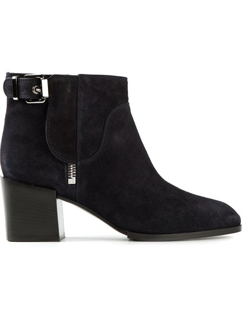 Sergio Rossi Woman Buckled Suede Ankle Boots Black