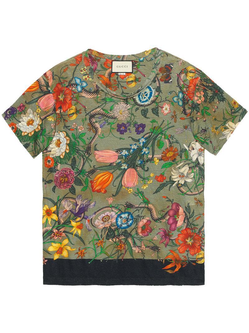 f931f105 Gucci Flora Snake Print Cotton T-Shirt In Linen, Green | ModeSens
